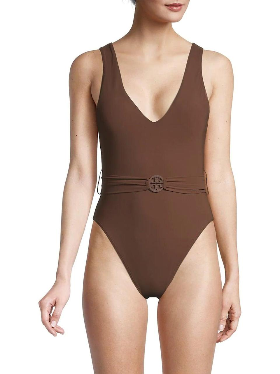 <p>We love the deep shade of this <span>Tory Burch Miller Belted One-Piece Swimsuit</span> ($198).</p>