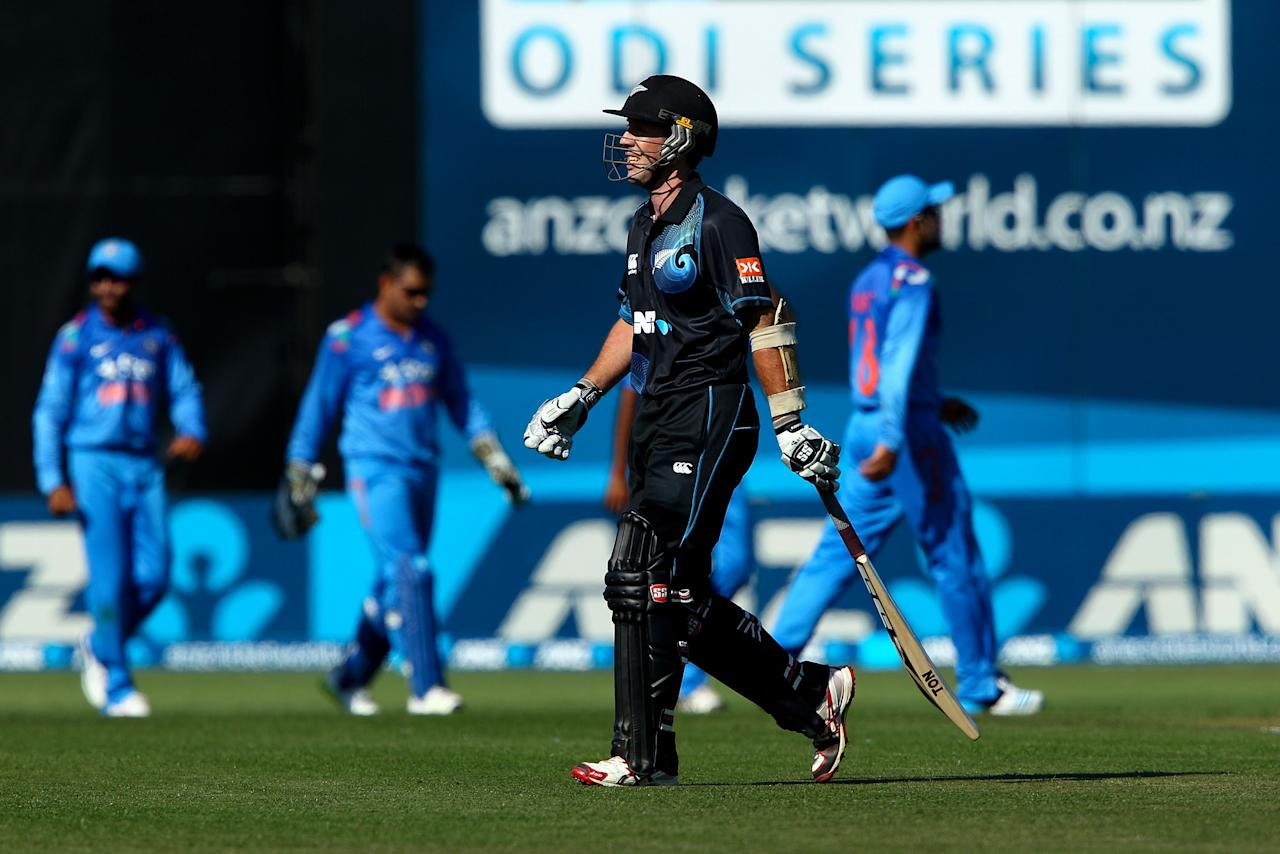 NAPIER, NEW ZEALAND - JANUARY 19:  Luke Ronchi of New Zealand leaves the field after being dismissed during the first One Day International match between New Zealand and India at McLean Park on January 19, 2014 in Napier, New Zealand.  (Photo by Hagen Hopkins/Getty Images)
