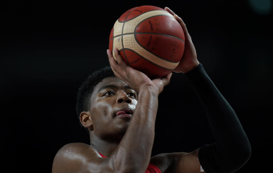 Japan's Rui Hachimura (8) prepares to throw during men's basketball preliminary round game against Slovenia at the 2020 Summer Olympics, Thursday, July 29, 2021, in Saitama, Japan. (AP Photo/Eric Gay)