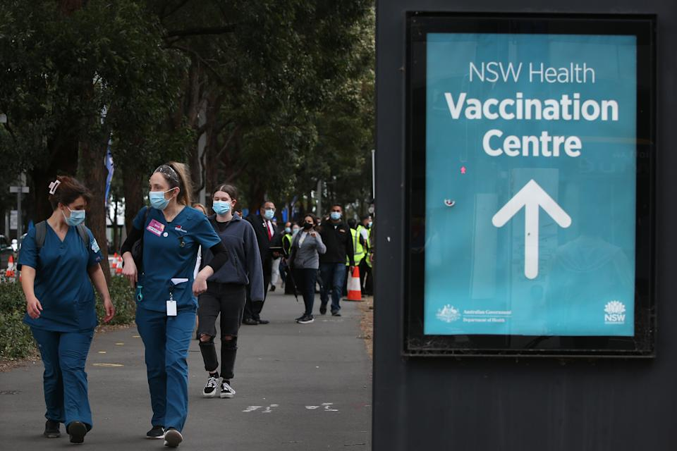 Phoot of a sign saying NSW Health vaccination centre.