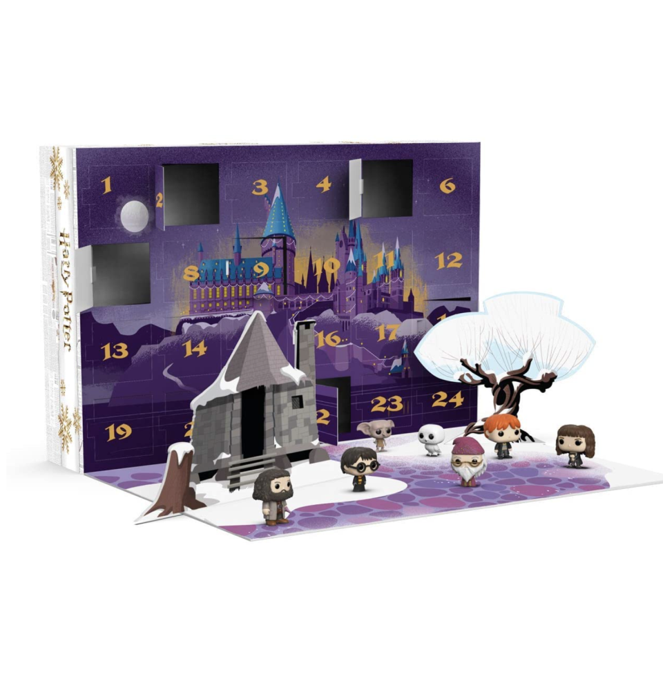 """<p><strong>Funko</strong></p><p>amazon.com</p><p><strong>$84.95</strong></p><p><a href=""""https://www.amazon.com/dp/B07J3H1F3X?tag=syn-yahoo-20&ascsubtag=%5Bartid%7C10065.g.606%5Bsrc%7Cyahoo-us"""" rel=""""nofollow noopener"""" target=""""_blank"""" data-ylk=""""slk:Shop Now"""" class=""""link rapid-noclick-resp"""">Shop Now</a></p><p>Forget <em>Harry Potter </em>weekends – gift him 24 days of magic, instead. This advent calendar comes with teeny tiny versions of all your favorite witches and wizards (literally, ALL of them). </p>"""