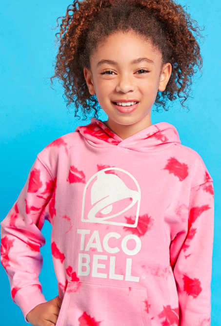 "Girls Taco Bell tie-dye hoodie, <a href=""https://www.forever21.com/us/shop/Catalog/Product/f21/promo-taco-bell-collection/2000235321"" target=""_blank"">$17.90 at Forever 21</a>"