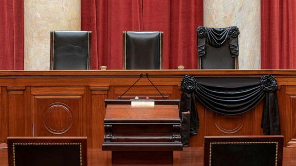 PHOTO: An interior view of the Supreme Court shows the bench draped with black bunting in honor of the late Justice Ruth Bader Ginsburg in Washington, D.C. in photo released on Sept. 20, 2020. (Collection Of The Supreme Court via Reuters)