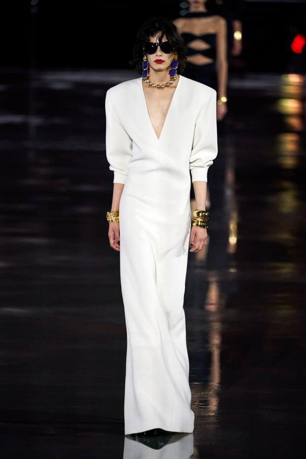 <p>A Look from the Saint Laurent Spring 2022 Collection. Photo: Imaxtree</p>