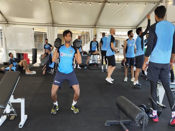 Indian players having a gym session (Photo/ BCCI Twitter)