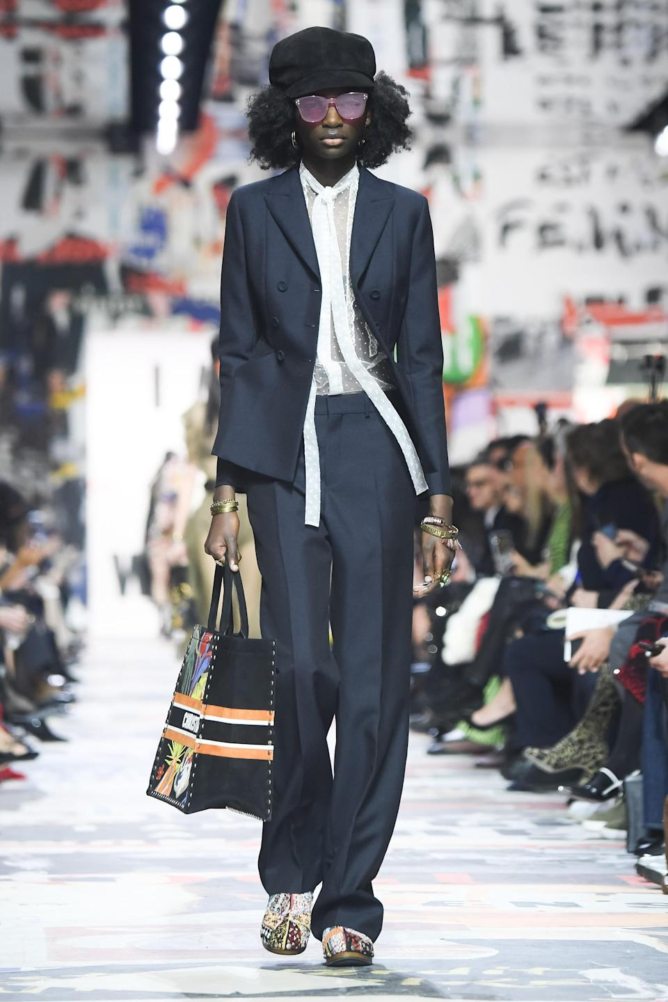 One of the few pantsuits at Dior Fall 2018. (Photo: Getty Images)