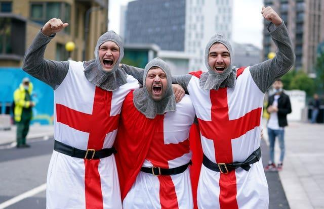 England fans dressed as knights outside Wembley (Mike Egerton/PA)