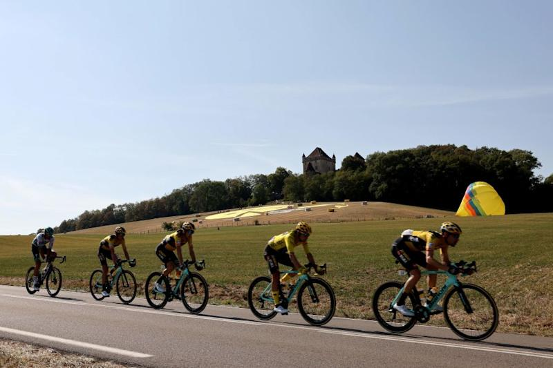 Team Jumbo Visma riders lead the pack during the 19th stage of the 107th edition of the Tour de France cycling race 160 km between BourgenBresse and Champagnole on September 18 2020 Photo by Kenzo Tribouillard AFP Photo by KENZO TRIBOUILLARDAFP via Getty Images