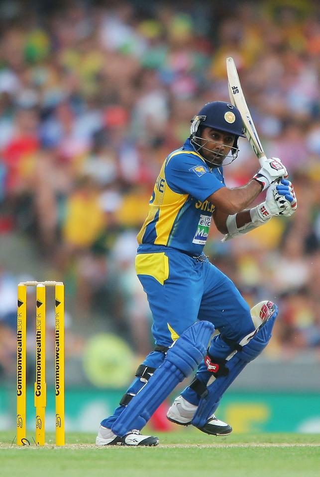 SYDNEY, AUSTRALIA - JANUARY 20:  Mahela Jayawardena of Sri Lanka bats during game four of the Commonwealth Bank one day international series between Australia and Sri Lanka at Sydney Cricket Ground on January 20, 2013 in Sydney, Australia.  (Photo by Brendon Thorne/Getty Images)