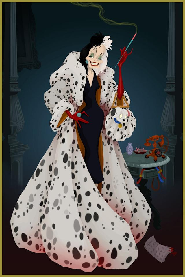 """<div class=""""caption-credit""""> Photo by: Justin Turrentine/DeviantArt.com</div><div class=""""caption-title"""">101 Dalmatians</div>Cruella DeVil basks in the warmth of her own happy ending -- a coat made out of the pelts of Dalmatian puppies (and possibly their parents). <br> <br>"""