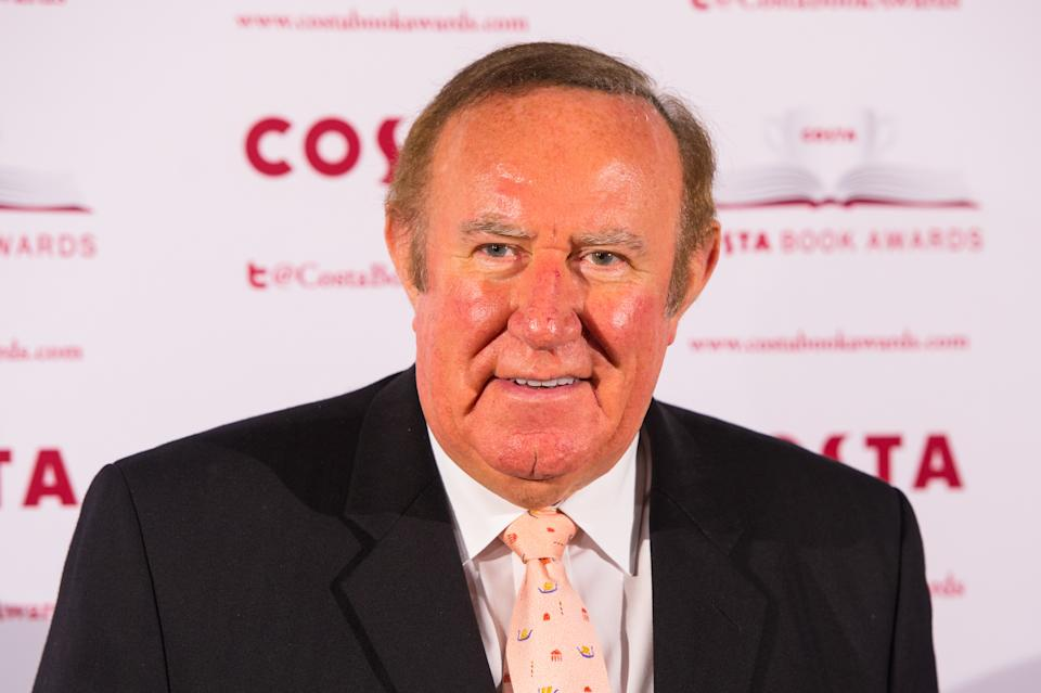 Andrew Neil arrives at the 2015 Costa Book Awards at Quaglino's, London.