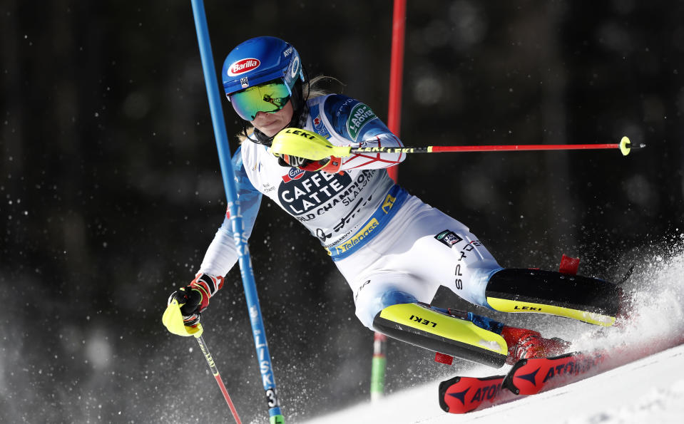 United States' Mikaela Shiffrin competes during a women's slalom, at the alpine ski World Championships in Cortina d'Ampezzo, Italy, Saturday, Feb. 20, 2021. (AP Photo/Gabriele Facciotti)