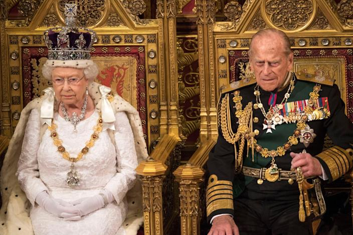 <p>Queen Elizabeth II with the late Duke of Edinburgh during the State Opening of Parliament </p> (PA)