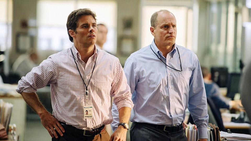 James Marsden as Warren Strobel and Woody Harrelson as Jonathan Landay in Rob Reiner's new Iraq War-era movie, <i>Shock and Awe</i>. (Photo: Vertical Entertainment/Courtesy Everett Collection)