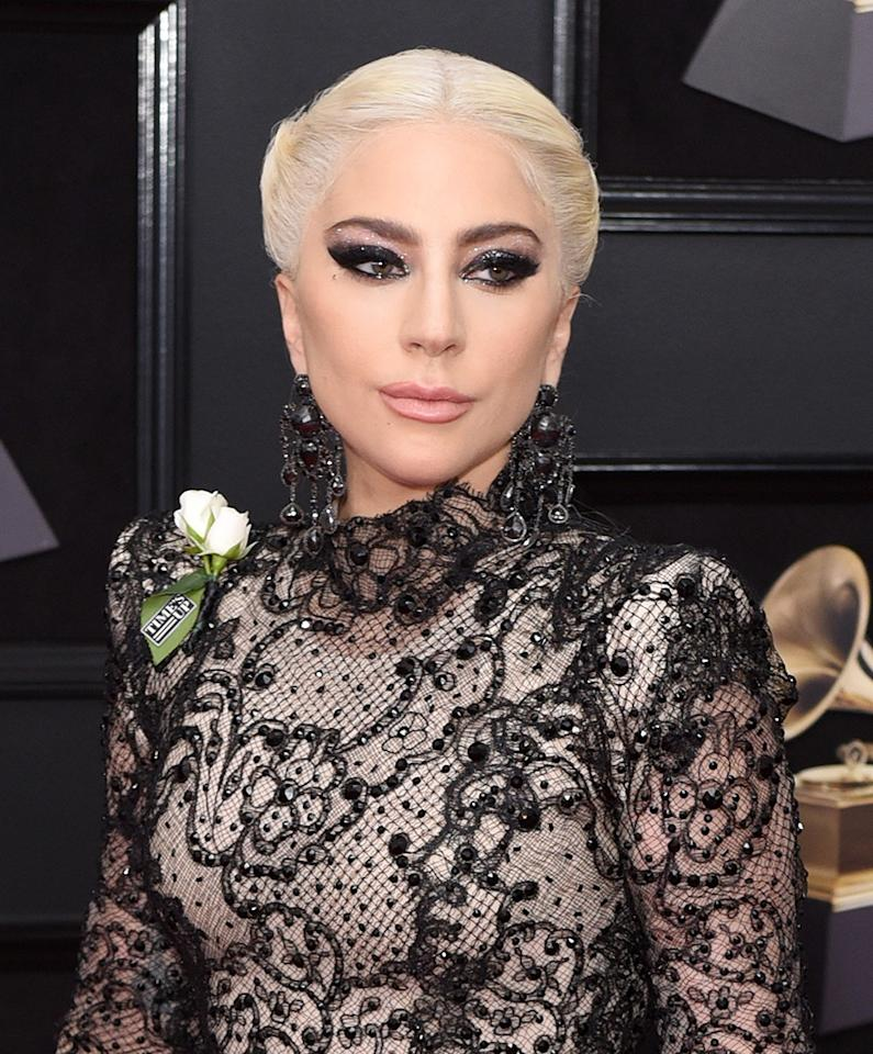 "<p>Sarah Tanno, the global artistry ambassador for Marc Jacobs Beauty, decked out <a rel=""nofollow"" href=""https://www.yahoo.com/lifestyle/lady-gagas-grammys-eye-makeup-surprising-inspiration-heres-get-063443831.html"">Gaga's eyelids in a gothic cat eye</a> inspired by a ""dark, starry night."" To complete the look, she dressed up her pucker with <a rel=""nofollow"" href=""https://www.sephora.com/product/poutliner-longwear-lip-pencil-P392349"">Marc Jacobs Beauty Poutliner Longwear Lip Liner Pencil in Prim(rose) 304</a> ($24). (Photo: Presley Ann/Patrick McMullan via Getty Images) </p>"