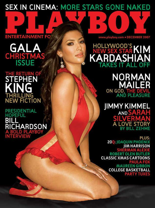 <p>To promote the first ever season of 'Keeping up with the Kardashians', lead sibling Kim posed in a revealing red get-up for the December 2007 cover. Behind-the-scenes footage of the shoot can be seen in one of the first ever 'KUWTK' episodes where Kris Jenner fawns over her nearly-naked daughter.<br /><i>[Photo: Playboy]</i> </p>