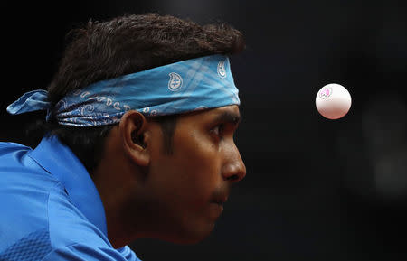 Table Tennis - Gold Coast 2018 Commonwealth Games - Mixed Doubles Semifinal 1 - Singapore v India - Oxenford Studios - Gold Coast, Australia - April 14, 2018. Sharath Achanta of India in action. REUTERS/Jeremy Lee