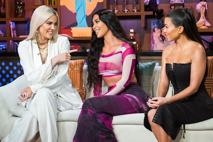 WATCH WHAT HAPPENS LIVE WITH ANDY COHEN -- Pictured (l-r): Khloe Kardashian, Kim Kardashian and Kourtney Kardashian -- (Photo by: Charles Sykes/Bravo/NBCU Photo Bank/NBCUniversal via Getty Images)