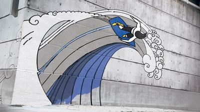 """Goodyear's new commercial, """"Breakout,"""" portrays the iconic Goodyear Wingfoot coming to life as a symbol for forward motion, giving a graffiti character the power to grow, evolve and transform. Each transformation represents different attributes of Goodyear's tires and opens doors to new experiences and adventures – from a surfer signifying exceptional wet performance to a rock climber demonstrating all-terrain capabilities."""