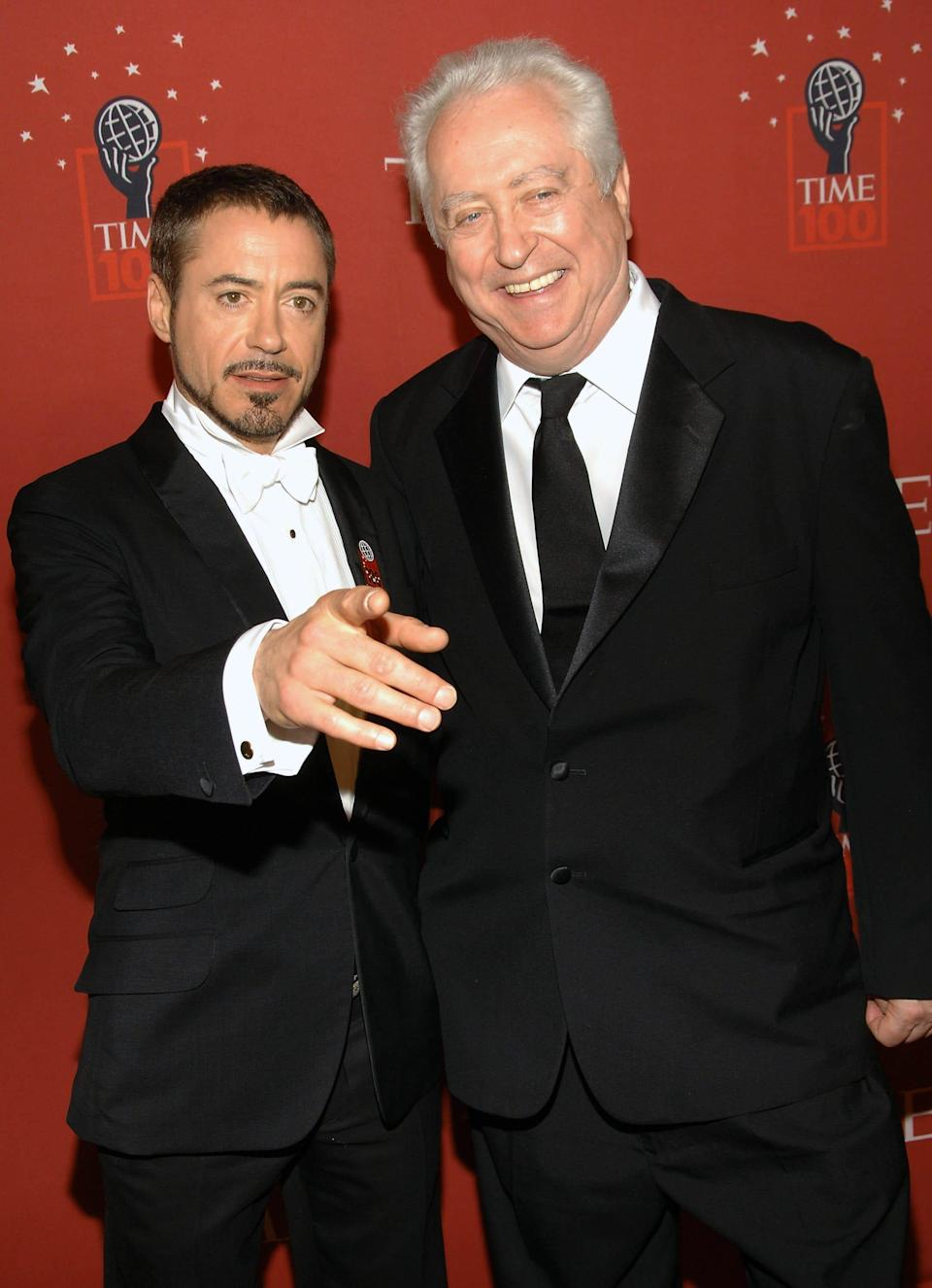 Actor Robert Downey Jr., left, and his father Robert Downey Sr. arrive at Time's 100 Most Influential People in the World Gala on Thursday, May 8, 2008 in New York. (AP Photo/Evan Agostini) ORG XMIT: NYEA115