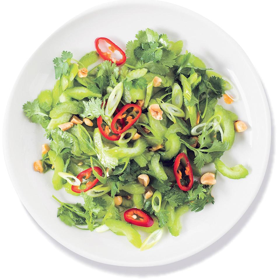 "<h1 class=""title"">Thai Celery Salad with Peanuts</h1> <div class=""caption""> When you have celery in your fridge, you can always make celery salad, like <a href=""https://www.epicurious.com/recipes/food/views/thai-celery-salad-with-peanuts-51246010?mbid=synd_yahoo_rss"" rel=""nofollow noopener"" target=""_blank"" data-ylk=""slk:this Thai-inspired one with peanuts."" class=""link rapid-noclick-resp"">this Thai-inspired one with peanuts.</a> </div> <cite class=""credit"">Zach DeSart</cite>"