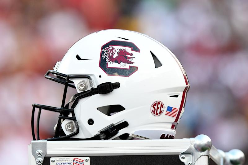 COLUMBIA, SC - SEPTEMBER 14: A South Carolina Gamecocks helmet sits on a trunk close to the bench during the game between the Alabama Crimson Tide and the South Carolina Gamecocks on September 14, 2019 at Williams-Brice Stadium in Columbia,SC. (Photo by Dannie Walls/Icon Sportswire via Getty Images)