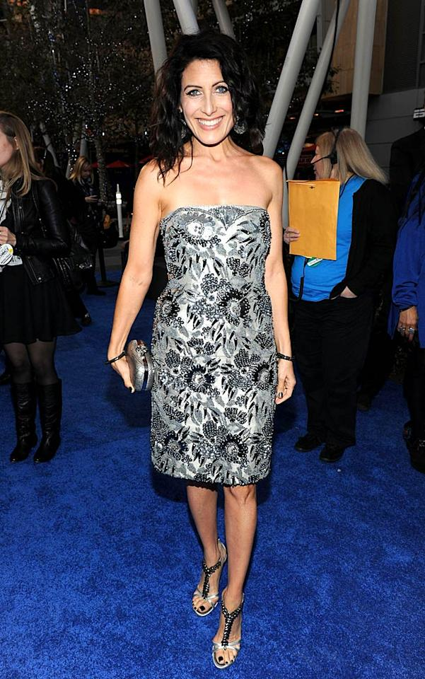 """House's"" Lisa Edelstein was a bit matchy-matchy in her black-and-silver-beaded number and T-strap stilettos. Frazer Harrison/<a href=""http://www.gettyimages.com/"" target=""new"">GettyImages.com</a> - January 5, 2011"