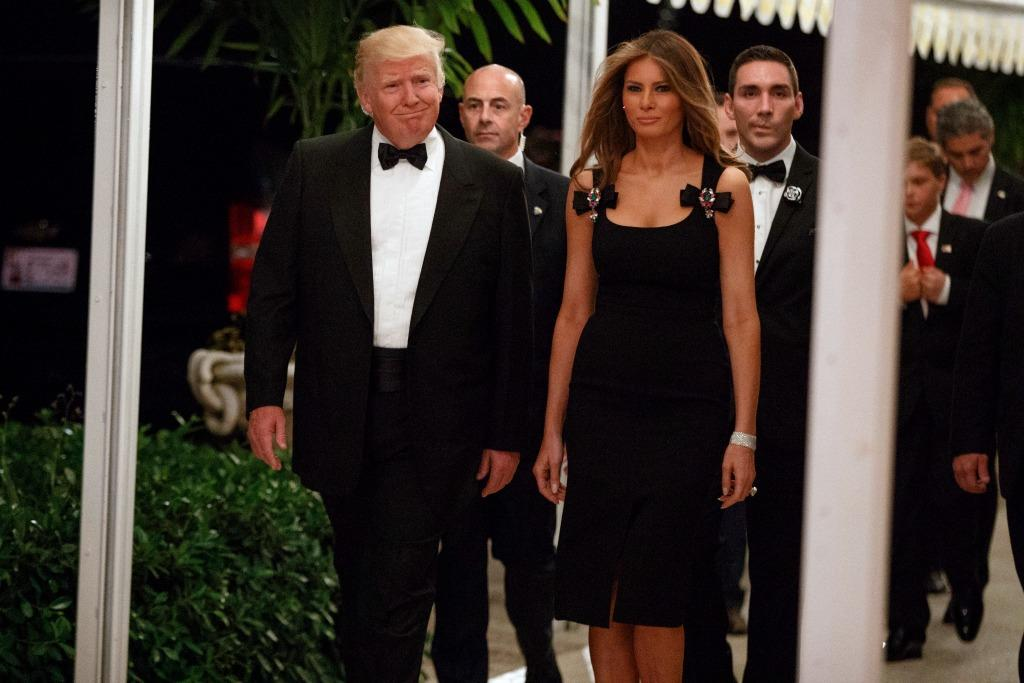 Melania Trump shows up to a party at Mar-a-Lago looking ravishing in black D&G. (Photo: Getty)