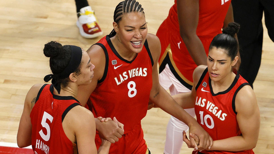 The Las Vegas Aces will have to wait for Liz Cambage to complete the WNBA's health and safety protocols before she can return to the court for the WNBA playoffs. (Photo by Ethan Miller/Getty Images)