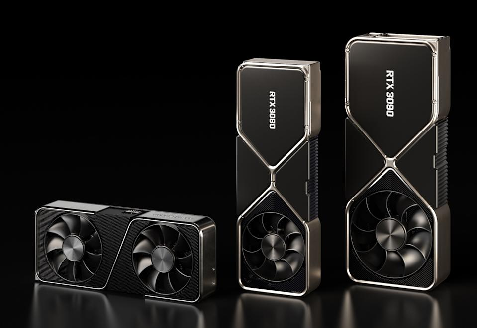 Nvidia's new RTX 3000 cards are the companies latest and greatest consumer graphics processors, promising dramatically improved speeds and performance. (Image: Nvidia)