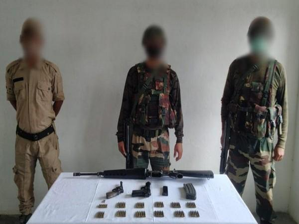 Security forces bust insurgent hideout in Manipur on Sunday. Photo/ANI