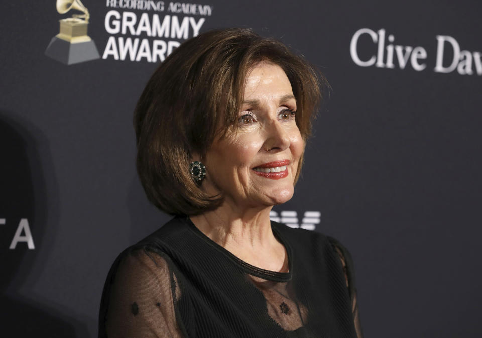 Speaker of the House Nancy Pelosi arrives at the Pre-Grammy Gala And Salute To Industry Icons at the Beverly Hilton Hotel on Saturday, Jan. 25, 2020, in Beverly Hills, Calif. (Photo by Mark Von Holden/Invision/AP)