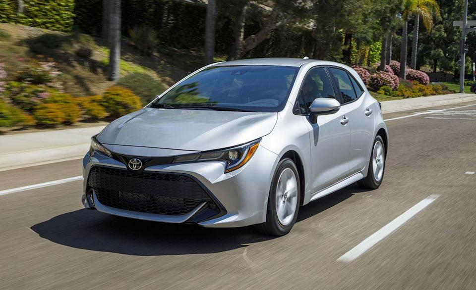 """<p>Toyota's <a href=""""https://www.caranddriver.com/toyota/corolla"""" rel=""""nofollow noopener"""" target=""""_blank"""" data-ylk=""""slk:Corolla Hatchback"""" class=""""link rapid-noclick-resp"""">Corolla Hatchback</a> keeps the flame of affordability burning with its fuel-saving 2.0-liter engine and CVT. Hitting an EPA combined 36 mpg, this Corolla falls short of its hybrid counterpart, which is capable of 52 mpg, but is still among the best against its gasoline-only competitors. Its cheap base price and standard features we all feel we're entitled to in 2021 make it a great bargain performer, and its design keeps it from looking too much like a bargain car.</p><ul><li>Base Price: $20,245</li><li>Fuel Economy EPA combined/city/highway: 35/32/41 mpg</li><li>Horsepower: 169 hp</li></ul><p><a class=""""link rapid-noclick-resp"""" href=""""https://www.caranddriver.com/toyota/corolla/specs"""" rel=""""nofollow noopener"""" target=""""_blank"""" data-ylk=""""slk:MORE COROLLA SPECS"""">MORE COROLLA SPECS</a></p>"""
