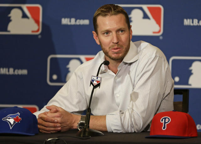 Roy Halladay when he retired from MLB in 2013 after careers with the Blue Jays and Phillies. (AP)