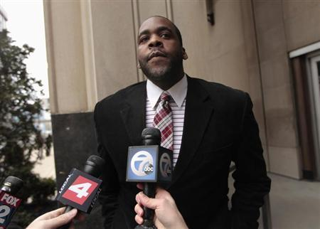 Former Detroit Mayor Kwame Kilpatrick leaves the U.S. District Court after he was convicted on federal racketeering and other charges in Detroit, Michigan