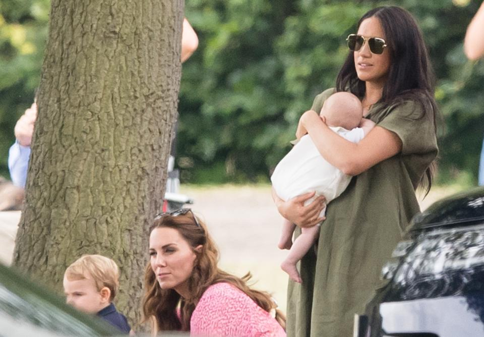 Prince Louis, the Duchess of Cambridge, Archie Mountbatten-Windsor and the Duchess of Sussex at the polo