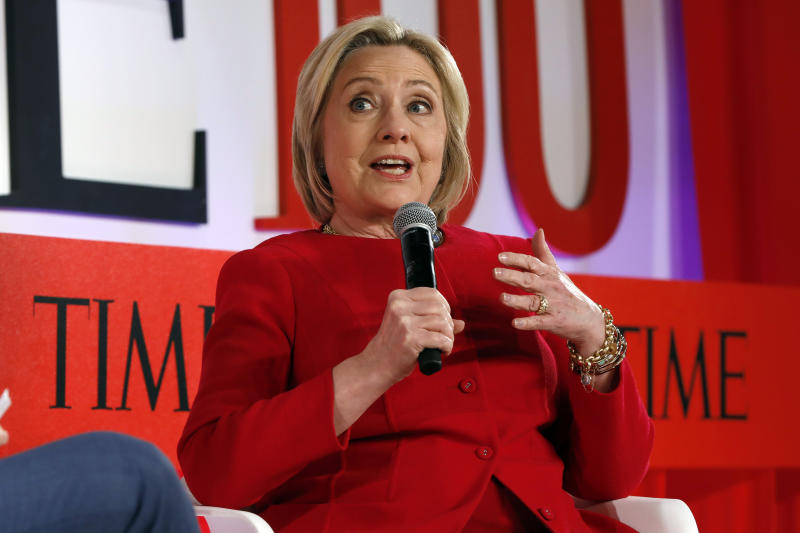 <p> Hillary Clinton speaks during the TIME 100 Summit, in New York, Tuesday, April 23, 2019. (AP Photo/Richard Drew) </p>