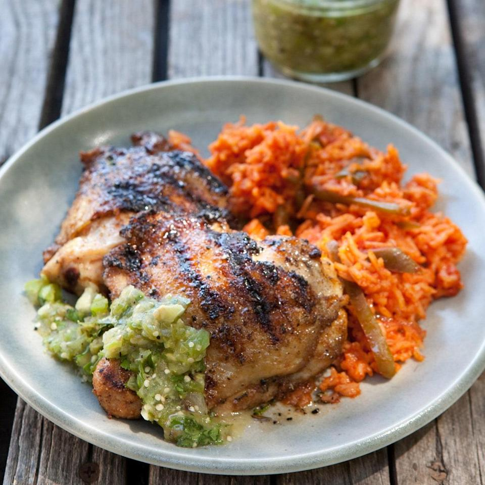 """Cumin, smoked paprika, and other bold spices in the rub come together with a chunky salsa of tomatillos, chile, lime, and cilantro to deliver an explosion of flavors that complement the chicken. <a href=""""https://www.epicurious.com/recipes/food/views/cumin-crusted-chicken-thighs-with-grilled-tomatillo-salsa-366209?mbid=synd_yahoo_rss"""" rel=""""nofollow noopener"""" target=""""_blank"""" data-ylk=""""slk:See recipe."""" class=""""link rapid-noclick-resp"""">See recipe.</a>"""