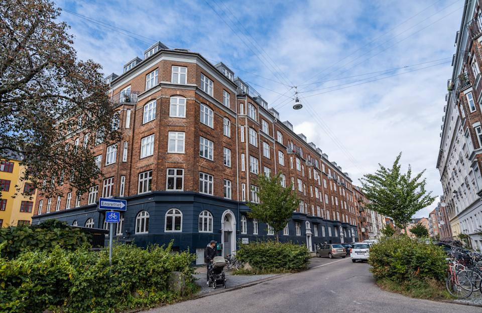 Beautiful old apartment buildings from the turn of the last century in the district Nørrebro, Copenhagen, Denmark