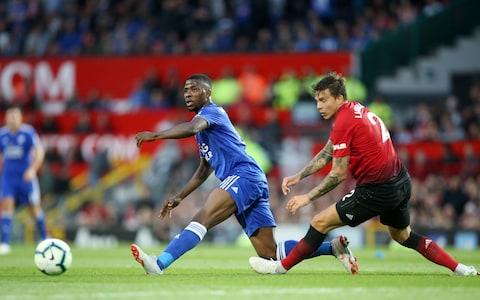 MANCHESTER, ENGLAND - AUGUST 10: Kelechi Iheanacho of Leicester City in action with Victor Lindelof of Manchester United during the Premier League match between Manchester United and Leicester City at Old Trafford on August 10, 2018 in Manchester, United Kingdom. - Credit: Getty Images