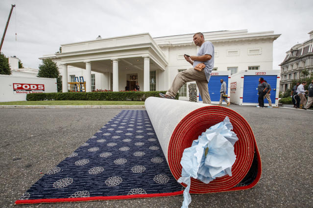 <p>Workmen prepare new carpeting for the West Wing of the White House in Washington, Friday, Aug. 11, 2017, as it undergoes renovations while President Donald Trump is spending time at his golf resort in New Jersey. (AP Photo/J. Scott Applewhite) </p>