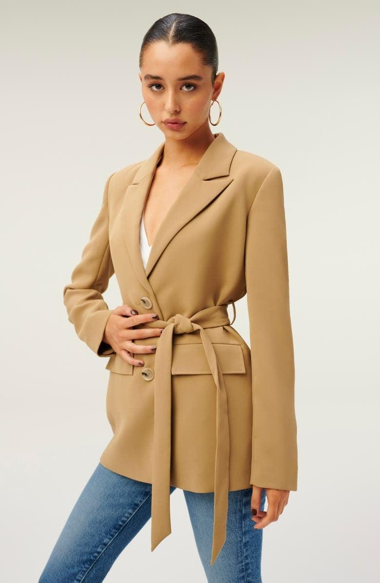<p>If you already have a simple black blazer in your arsenal, then you might want to add something new to mix it up. The <span>Good American Trench Blazer</span> ($145, originally $215) is at the top of our wish list. Its flattering silhouette and tie waist, along with the warm camel shade, are what sold us.</p>