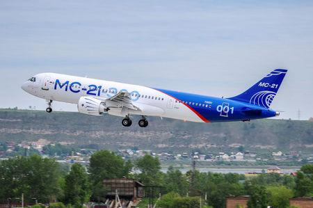 An MS-21 medium-range passenger plane, produced by Irkut Corporation, takes off in Irkutsk, Russia, May 28, 2017. Courtesy of PR Department of Irkut Corporation/Handout via REUTERS
