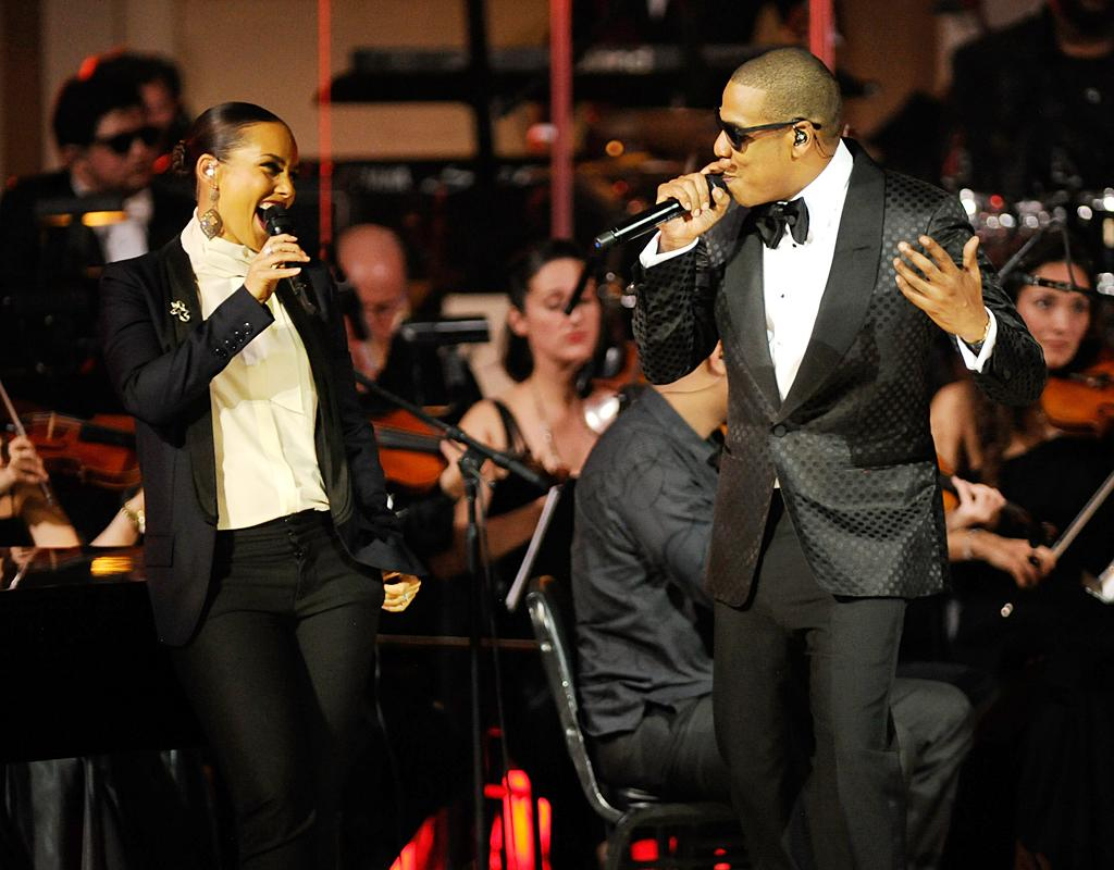 "It was no surprise when Alicia Keys joined Hov onstage for their mega-hit, ""Empire State of Mind."" After, Jay-Z gave props to his hometown football team. ""Make some noise for the Giants!"" he yelled. (2/6/2012)"