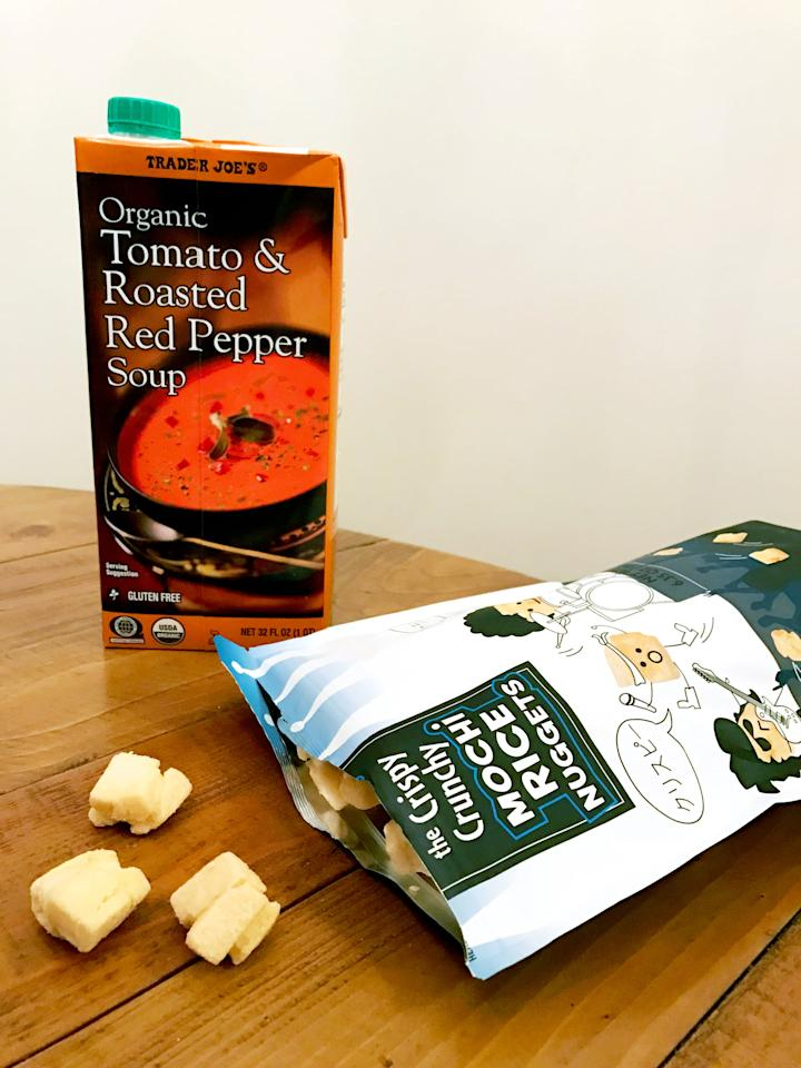 """<p>""""The Crispy Crunchy Mochi Rice Nuggets make the perfect croutons, and they don't get soggy. Also, when the soup is warming up, I add in some garlic powder, black pepper, and a pinch of sugar - crispy herbs would be good, too!"""" - Jae Payne</p>"""