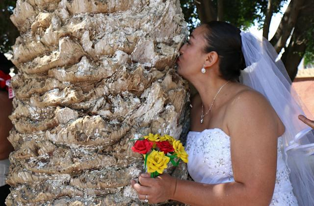 "An environmental activist kisses a tree during an event called ""Marry a Tree"" in the community of San Jacinto Amilpas, Oaxaca State, Mexico, on Feb. 25, 2018."