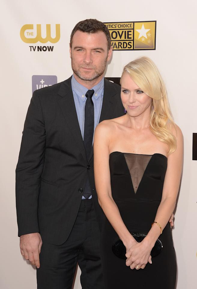 SANTA MONICA, CA - JANUARY 10:  Actors Liev Schreiber (L) and Naomi Watts attend the 18th Annual Critics' Choice Movie Awards held at Barker Hangar on January 10, 2013 in Santa Monica, California.  (Photo by Jason Merritt/Getty Images)