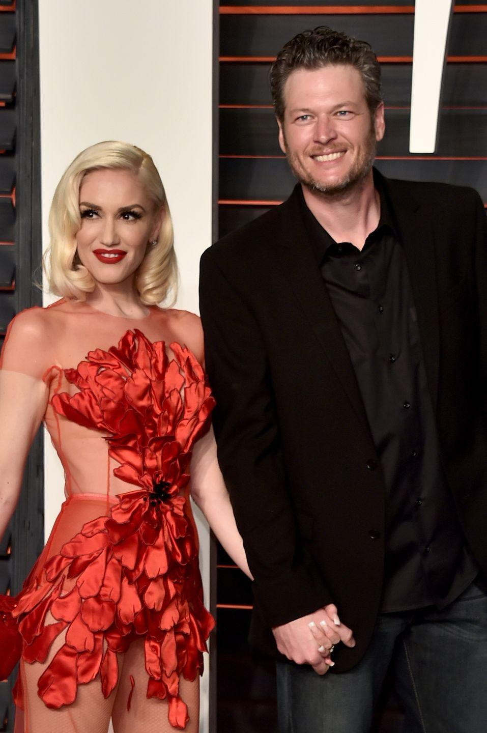 """<p>Of course, Blake Shelton has also written songs about Gwen Stefani — including <a href=""""https://theboot.com/blake-shelton-drops-gwen-stefani-reference-into-turnin-me-on-listen/"""" rel=""""nofollow noopener"""" target=""""_blank"""" data-ylk=""""slk:this steamy song"""" class=""""link rapid-noclick-resp"""">this steamy song</a> where he says """"She's Revlon red in the blackest night."""" Gwen is a <a href=""""https://www.harpersbazaar.com/beauty/makeup/news/a19665/gwen-stefani-revlon/"""" rel=""""nofollow noopener"""" target=""""_blank"""" data-ylk=""""slk:global ambassador for Revlon"""" class=""""link rapid-noclick-resp"""">global ambassador for Revlon</a> and frequently wears red lipstick during public appearances. </p>"""