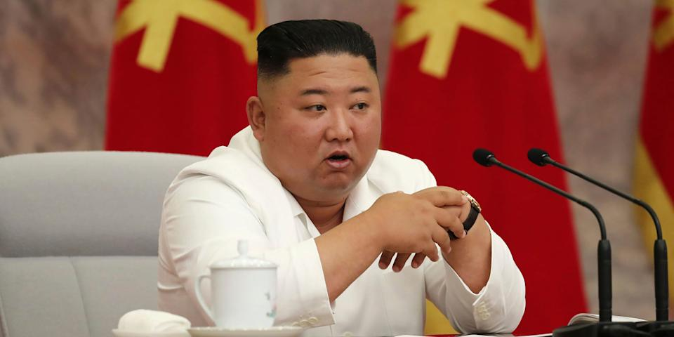 """CORRECTS DATE - In this photo provided by the North Korean government, North Korean leader Kim Jong Un attends a Politburo meeting of the Central Committee of the Workers' Party of Korea in Pyongyang, North Korea Thursday, July 2, 2020. Independent journalists were not given access to cover the event depicted in this image distributed by the North Korean government. The content of this image is as provided and cannot be independently verified. Korean language watermark on image as provided by source reads: """"KCNA"""" which is the abbreviation for Korean Central News Agency. (Korean Central News Agency/Korea News Service via AP)"""