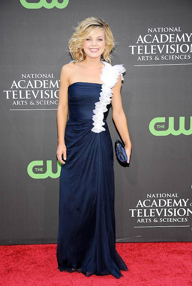 """For some reason, the white ruffled strap on Kirsten Storms' (""""General Hospital"""") navy gown reminds us a little bit of Bjork's infamous swan dress. Frazer Harrison/<a href=""""http://www.gettyimages.com/"""" target=""""new"""">GettyImages.com</a> - August 30, 2009"""